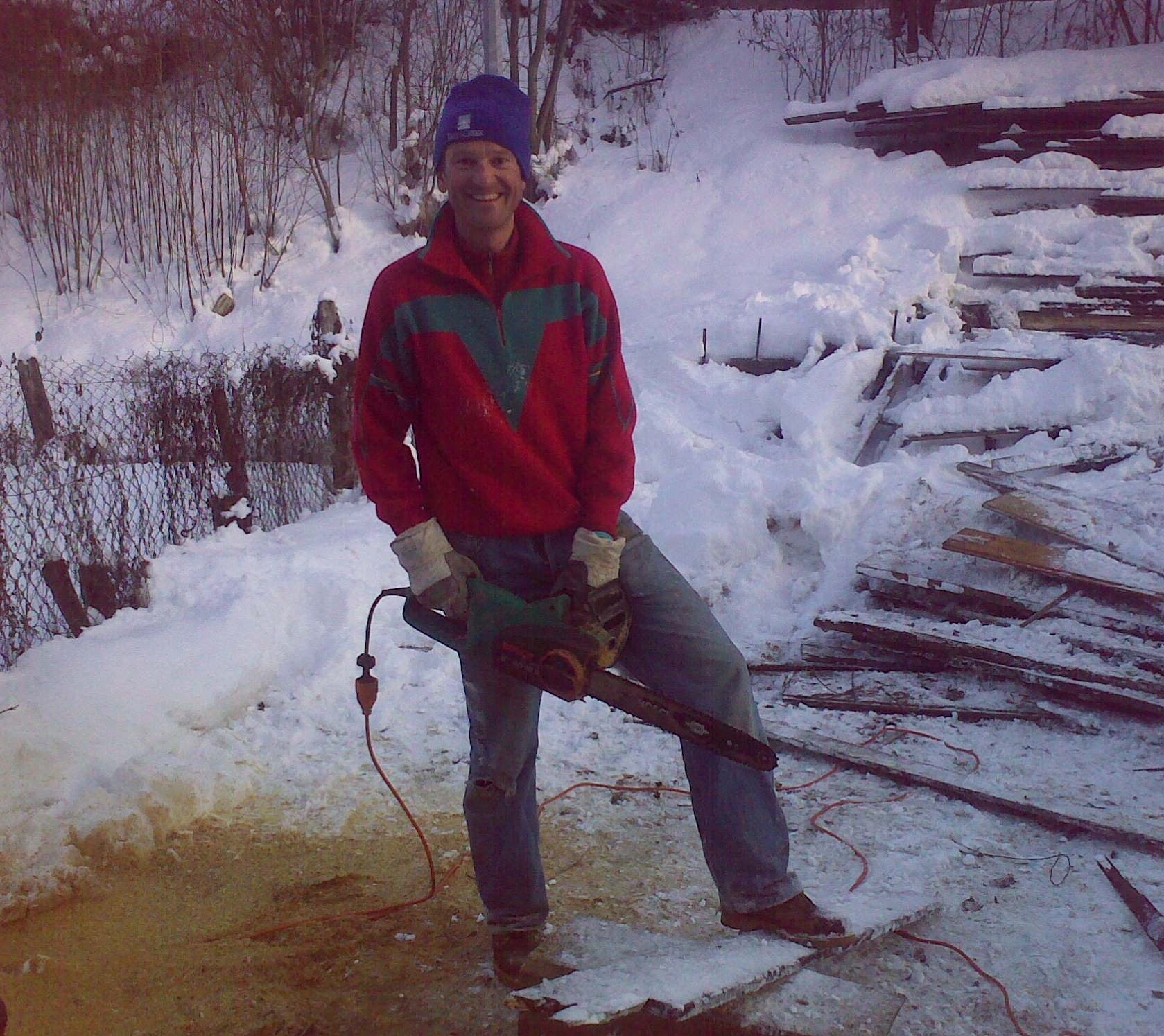 John T with chainsaw